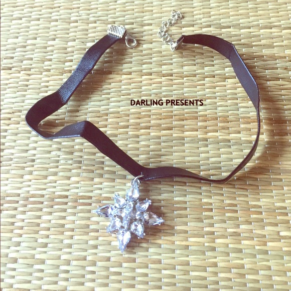 DARLING Jewelry - CRYSTAL & BLACK LEATHER CHOKER NECKLACE
